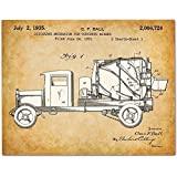 Concrete Mixer - 11x14 Unframed Patent Print - Great Gift for Contractors or Boy's Room Decor