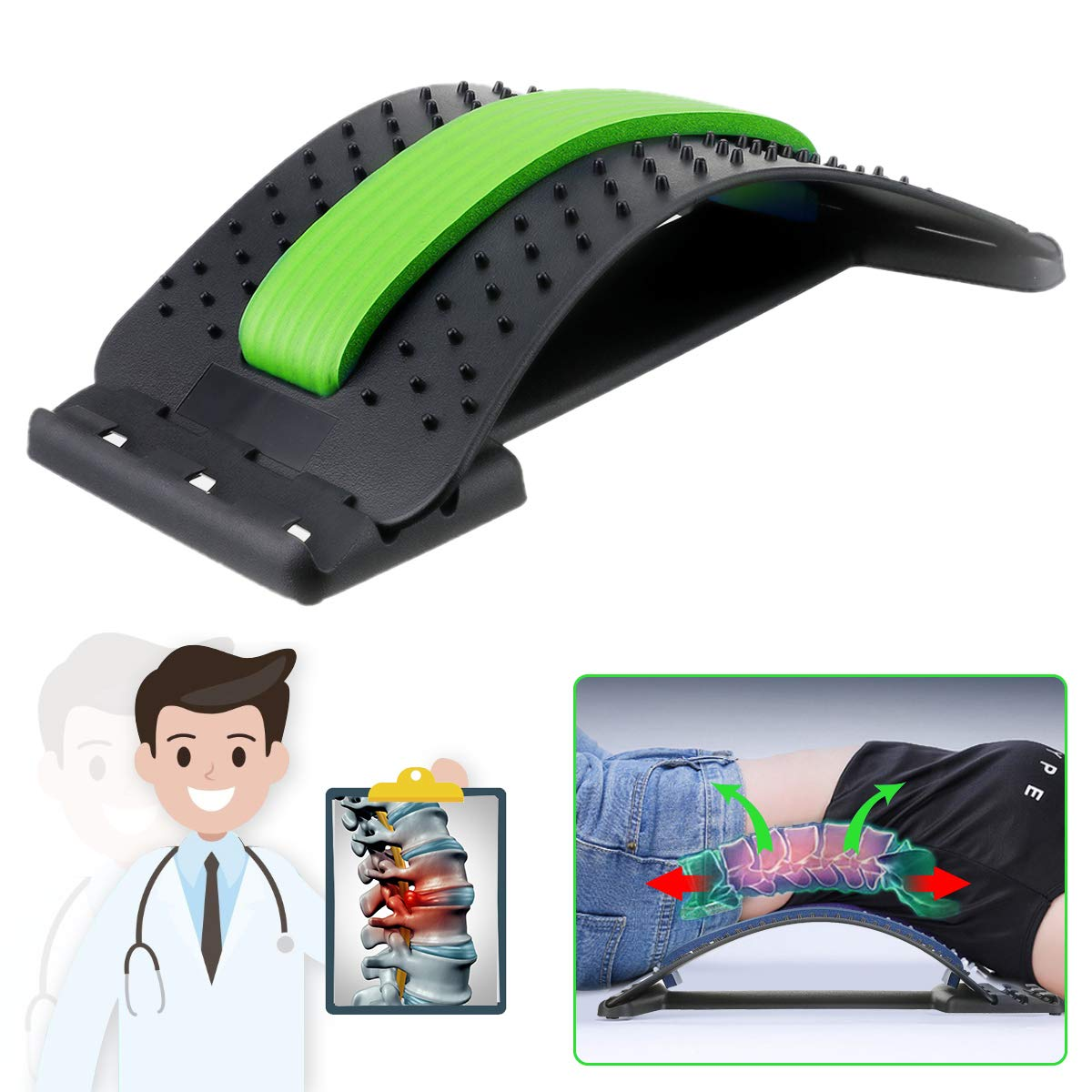 Back Stretcher, Lumbar Back Pain Relief, Multi-Level Lumbar Support Device, Back Massager Pain Relief, Lower and Upper Back Stretcher Support