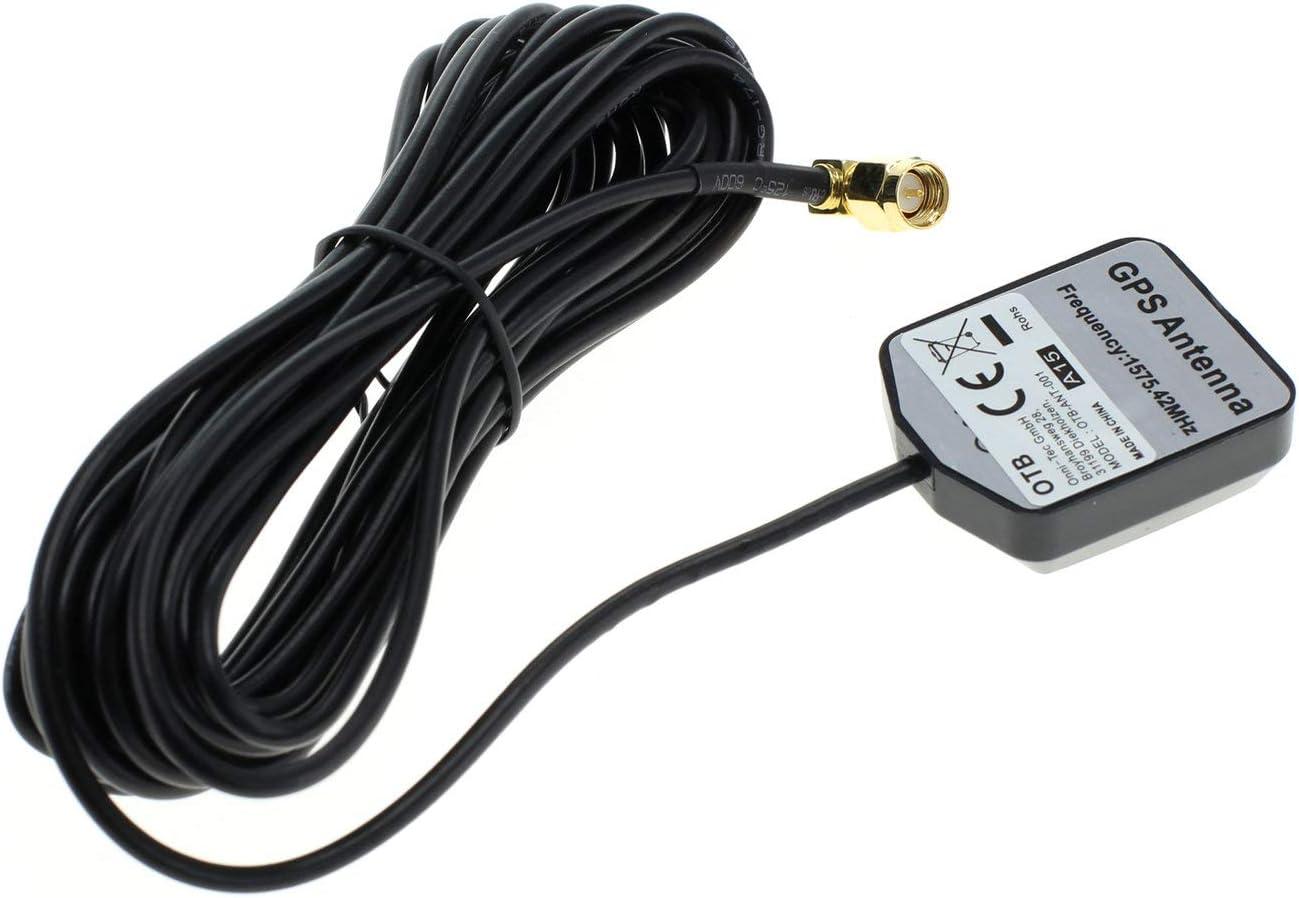 Antena GPS OTB con Conector SMA y Base magnética, Conector en ángulo de 90 Grados, Color Negro