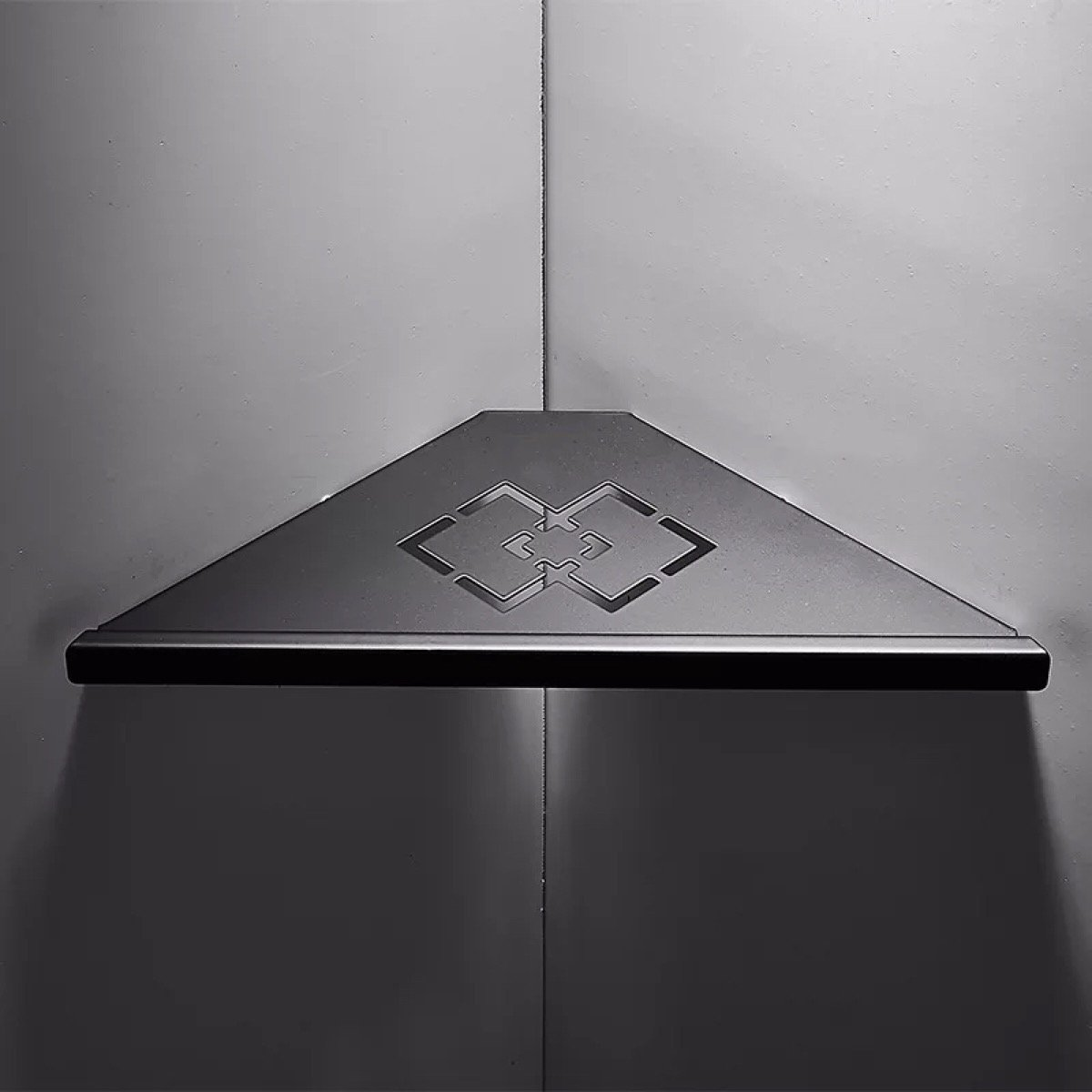 Ruddock YY7 Carved Hollow Out Black Matte Corner Shower Holder 304 Stainless Steel Bathroom Shelf (1 Layer)