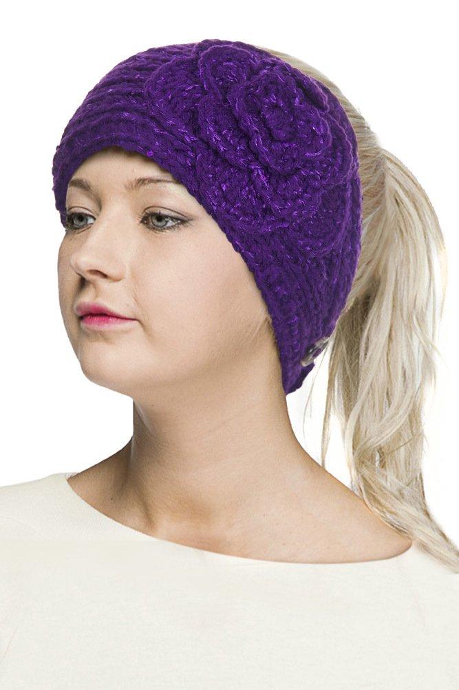 ScarvesMe C.C Womens Winter Cable Knit Headband Headwrap Hat Cap (Purple)