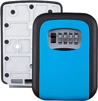 Caja de 4 dígitos con combinación de Cerradura de Llave Caja de Almacenamiento de Caja Segura para Llaves de Montaje en la Pared (Color : Azul): Amazon.es: Electrónica