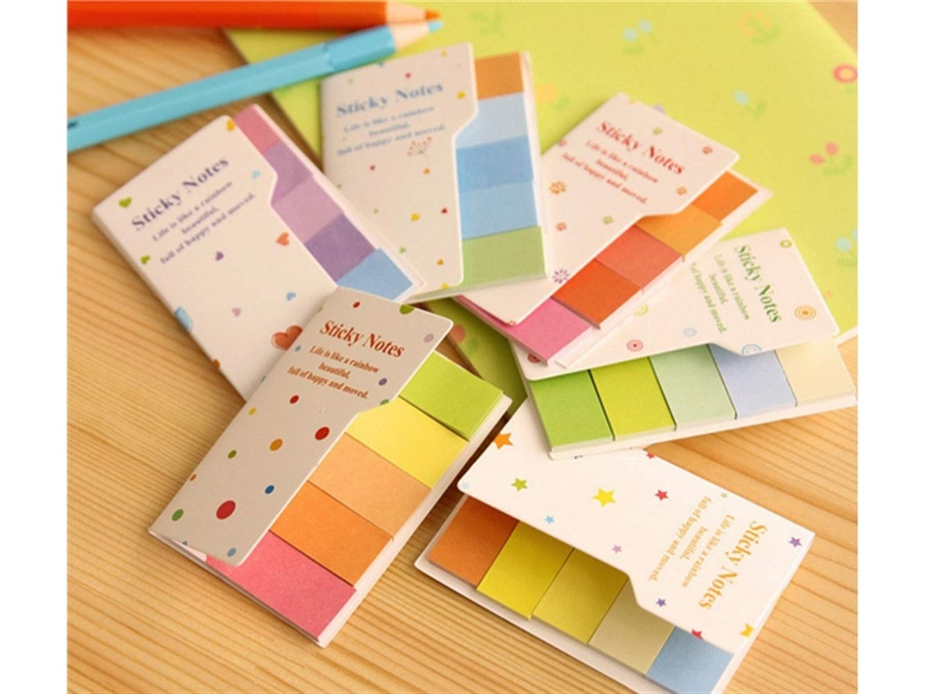 Perfect for Gift Rainbow Marker Bookmark Sticker Paste Tab Sticky Notes-Random Cute Looking FOUGNOGKISSS