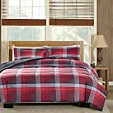 3 Piece Grey Black Red Plaid Comforter Full Queen Set, Tartan Cabin Themed Bedding Lodge Checked Lumberjack Pattern Down Alternative Cozy Warm Southwest, Reversible Solid Polyester