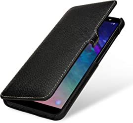 StilGut Book Type Case, Custodia per Samsung Galaxy A6 Plus 2018 a Libro Booklet in Vera Pelle, Nero con Clip