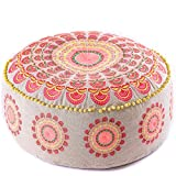 Bohemian Pouf Ottoman –STUFFED - Luxury, Artisan Room Décor Pouffe for Meditation, Yoga, and Boho Chic Seating Area Stool Floor Pillow – Accent Your Living Room, Bedroom, More – Handmade in India by Mandala Life ART