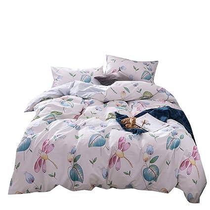 OTOB Cartoon Girls Twin Bedding Sets Teen Children Dragonfly Floral Duvet  Cover Set Light Pink Green