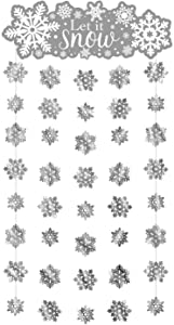 amscan Let it Snow Snowflake Doorway Curtain | Christmas Decoration