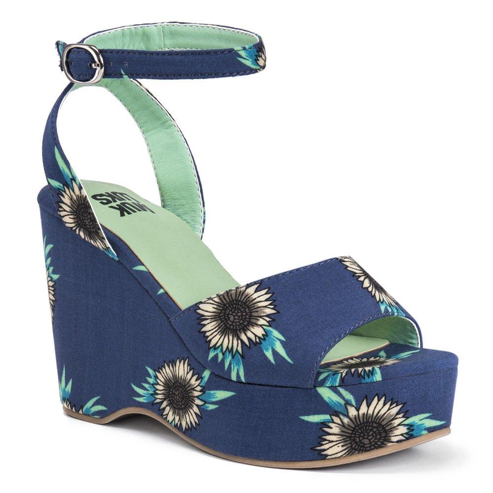MUK LUKS Elodie Women's Sandal B079V32331 8 B(M) US|Navy-sunflower