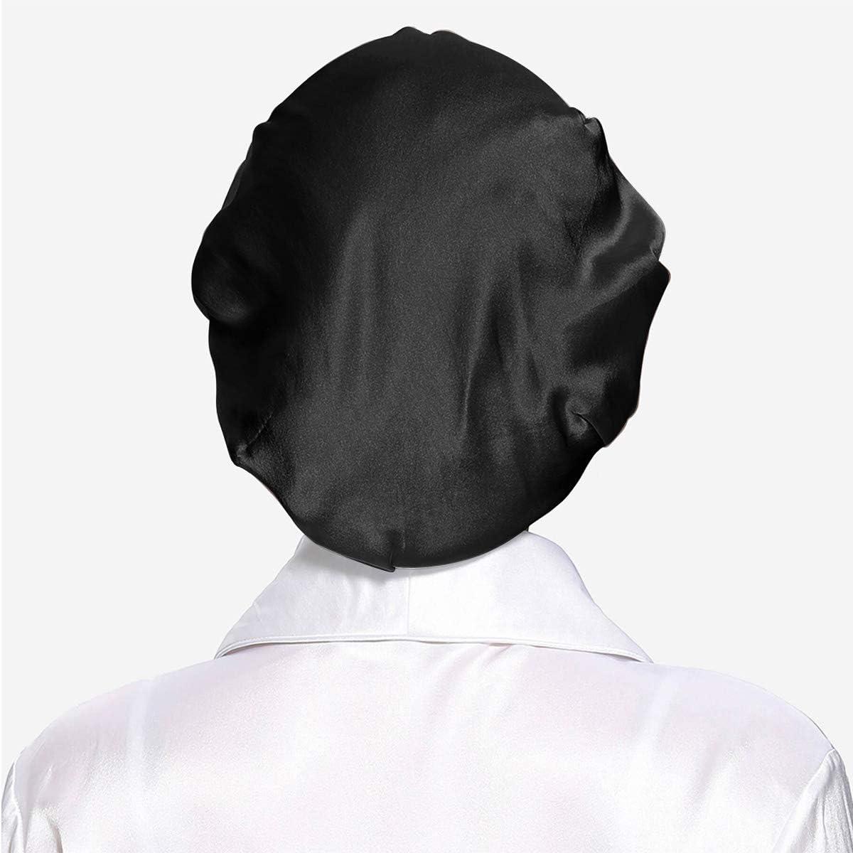 Bonnet en Soie pour Cheveux Nuit Respirant Bonnet de Nuit pour Femmes Filles Bonnet de Sommeil avec Large Bande /élastique 2 Pi/èces Bonnet de Couchage en Satin