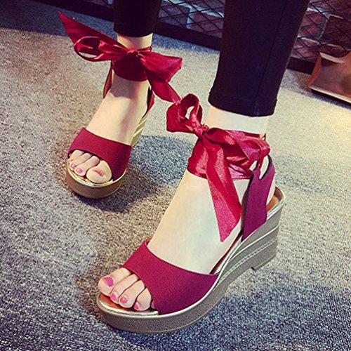 de Antideslizante a Sandalias Moda Zapatos Mujer Vino Vestido Encaje Verano Peep de Plataforma de Cu de de Gamuza Toe Sandalias la YUUxwOqv