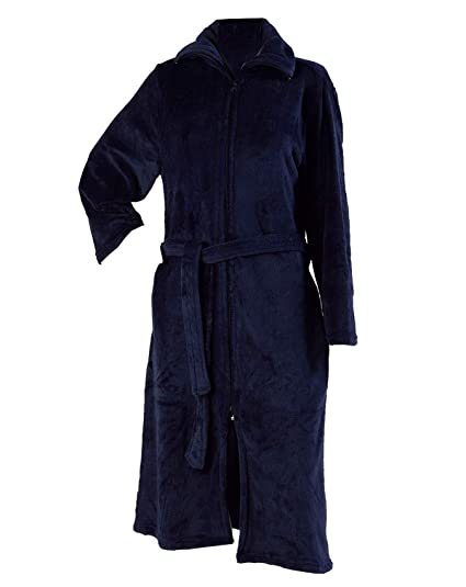 60f5bd02faf71 Slenderella Ladies Luxurious Soft Fleece Dressing Gown Zip Up with Pockets  Small (Navy Blue)
