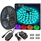 Waterproof LED Strip Lights 5M MINGER Music Rope Lighting Built-in Mic, 5050 SMD RGB Color Changing with Music String Lights with Controllor for Indoor/Outdoor Home Kitchen Cabinet TV Lighting Decora