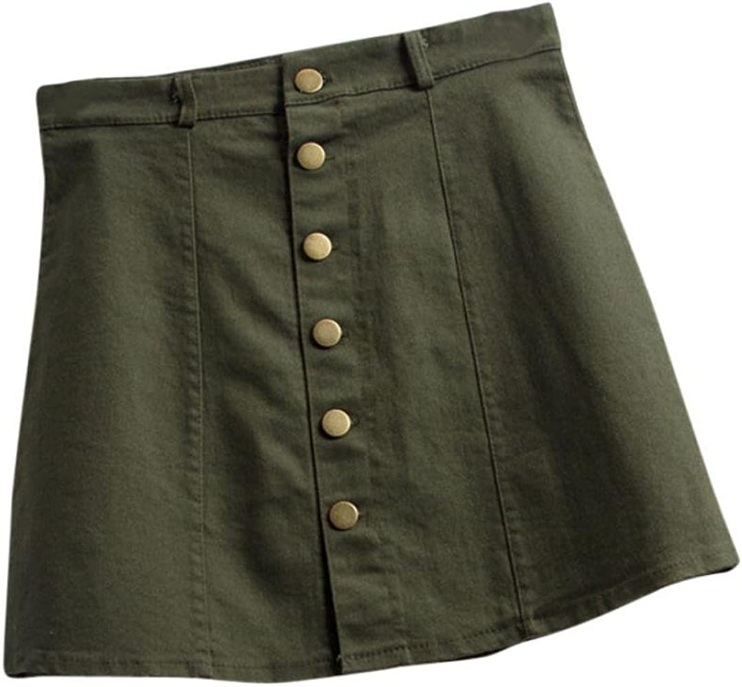 WOCACHI Falda Estilo Coreano Vaquero para Mujer, Falda de Cintura ...