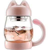 Chat mignon Mug avec passoire à thé-Bzy1(0.42l/396,9gram) Portable Résistant à la chaleur en verre Tasse de thé Infuseur avec couvercle-pour bureau et l'utilisation à domicile