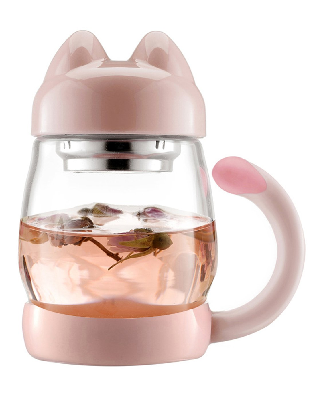BZY 420 ml / 14 oz Portable Cute Cat Tail Glass Tea Cup with a lid, Heat Resistant Mugs with a Strainer (Black) BZYO520-P