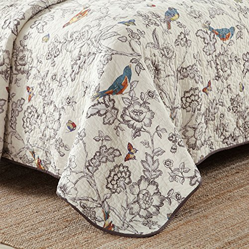 Vintage Floral Quilt Set King Cotton Bedspread Set Beige Brown Reversible Quilt Coverlet Set Luxury Birds Flower Butterfly Printed Quilt Set, Soft and Warm Autumn Winter Quilt Comforter Set by AMWAN (Image #2)