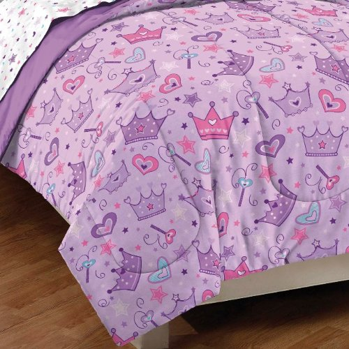 047225015150 - Dream Factory Purple Princess Hearts And Crowns Girls Comforter Set, Multi, Full carousel main 1