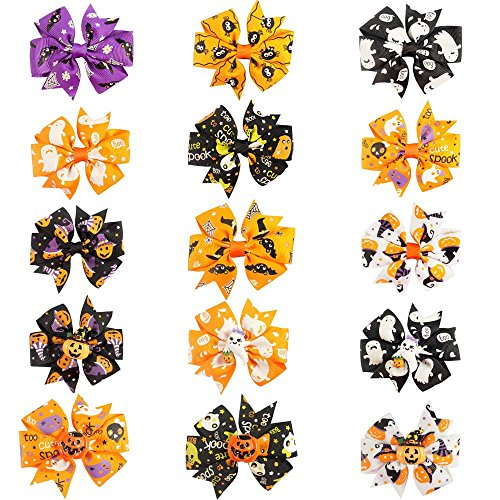 (CN 3 Inch Colorful Halloween Pumpkin Grosgrain Ribbon Pinwheel Boutique Smurfs Hair Bows With Clip For Baby Girls Kids Teens Toddlers Chirldren - Best for Halloween -15 Pieces Mix)