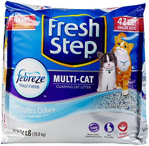 FRESH STEP CAT LITTER 261371 Fresh Step Multiple Cat Litter Strength, 42-Pound 618Ug0myIaL