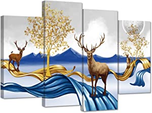 Zlove 4 Panel Blue and Gold Elk Canvas Wall Art Abstract Deer Mountain Full Moon Trees Minimalist Landscape Picture Print on Canvas for Living Room Modern Home Decor Ready to Hang