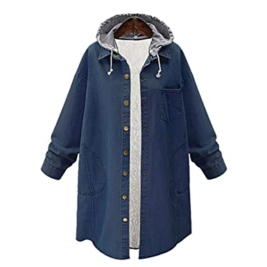 Kollmert Women Plus Size Cashmere Chaqueta Warm Loose Long Jacket Button Closed Coat (Blue,