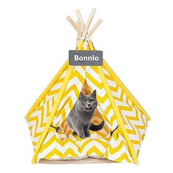 Amazon.com: Bonnlo Pet Teepee - Cama para perros y gatos ...