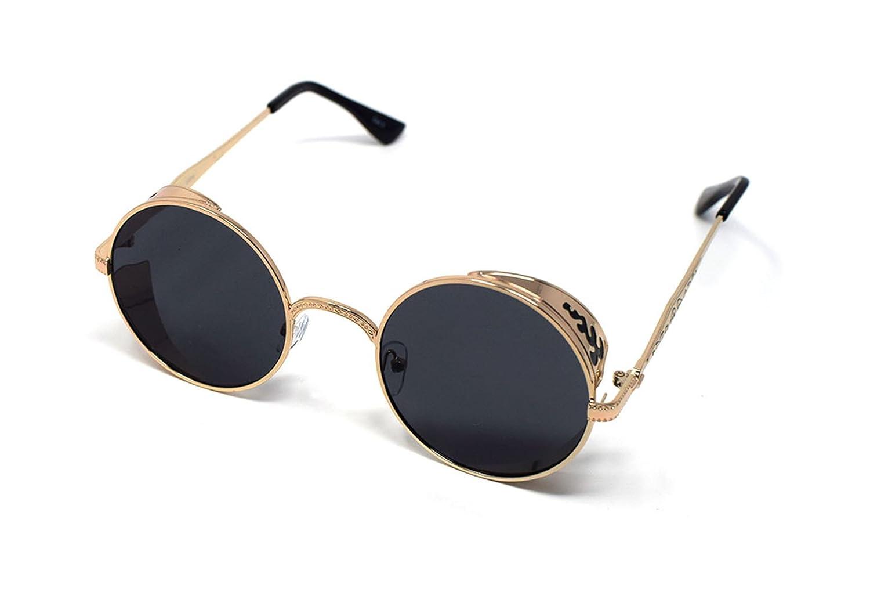 Ultra Steampunk Sonnenbrillen Gold mit braunen Linsen 50er Jahre Runde Gläser mit UV400 Schutz verfügbar H2T2VagGL