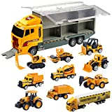 Oumoda Transport Car Carrier Truck Toy, Die-cast Construction Truck Vehicle Car Toy Set Matchbox Cars Gifts for Age 3 4 + Years Old Boys and Girls (Includes 10 Small Truck Toy and 1 Big Carrier Truck)