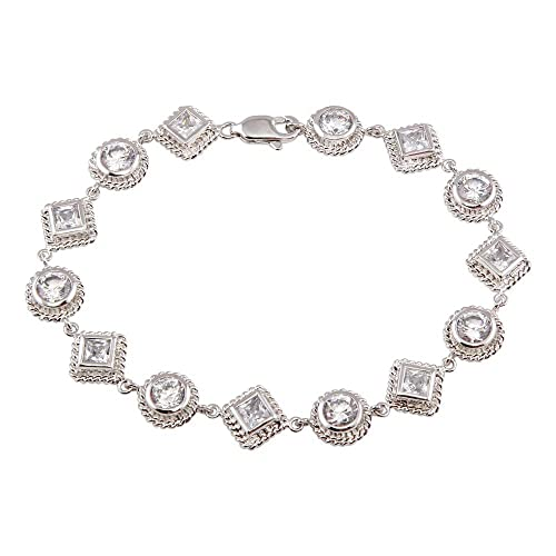 Princess Kylie Clear Cubic Zirconia Multi-Shape Charm Anklet Rhodium Plated Sterling Silver
