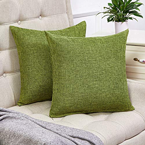 Anickal Set of 2 Green Pillow Covers Cotton Linen Decorative Square Throw Pillow Covers 20x20 Inch for Sofa Couch Decoration (Sage Green Decorative Pillows)