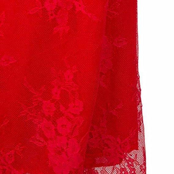 Z Para Mujer Vestido De Fiesta V-Cuello Profundo Sin Espalda De Encaje Sin Mangas Vestido Rojo Largo Maxi: Amazon.es: Ropa y accesorios