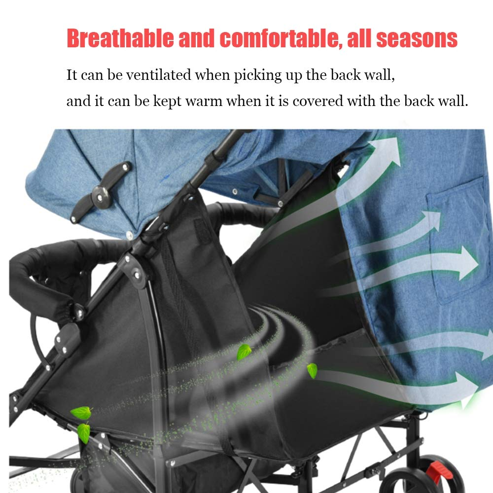 Twin Double Stroller, Foldable Tandem Stroller Side by Side Independently Reclining Seats Lightweight Extended Canopy Newborn Gift,Blue by Saturey (Image #4)