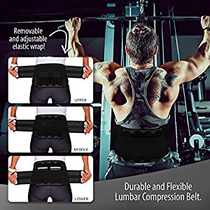 100 % Lumbar Support Back Brace RS3 Adjustable Compression Belt Best for Sports, Fitness, Injury Recovery With Active Lower Spine Support for Sciatica, Pain Relief, Herniated Disc | Men & Women