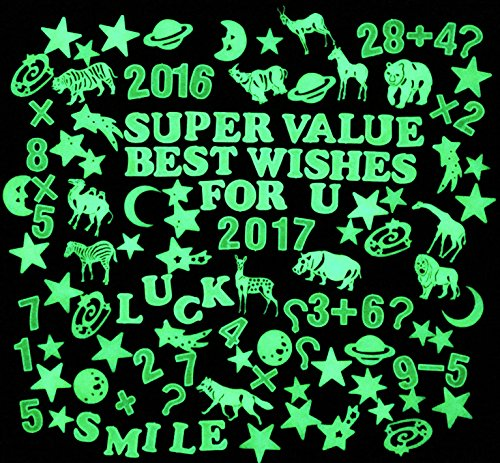 Animal Letter (340 Pieces Creative Glow in the Dark 3D Assorted Fluorescent Wall Stickers Decal Value Pack for Kids (Stars, Letters, Animals, Numbers))