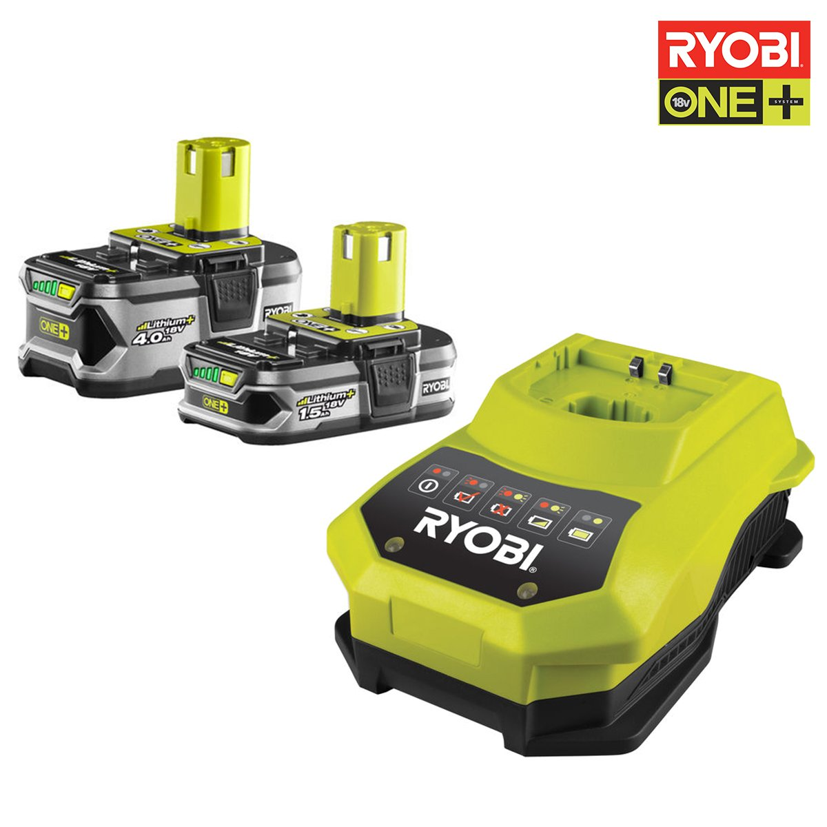 Ryobi Akku RBC18LL415 und Ladegerät, 18 V, 1 Stück, schwarz / grün, 5133002600