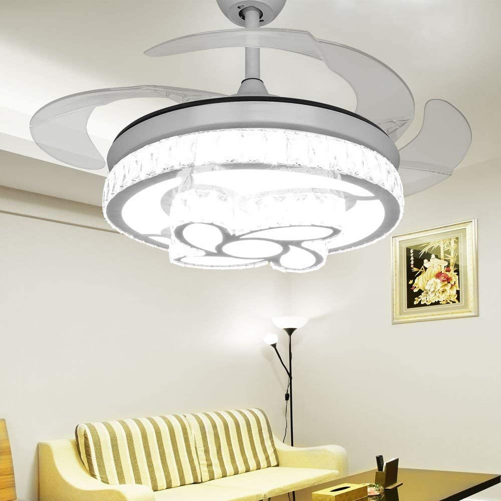 RS Lighting Indoor Rooms Crystal Flower Ceiling Fan with Remote 3 Gears Ceiling Fans Speed -42 Inch Invisible Ceiling Fan Chandelier Retractable Blade for Living Room, Dining Room