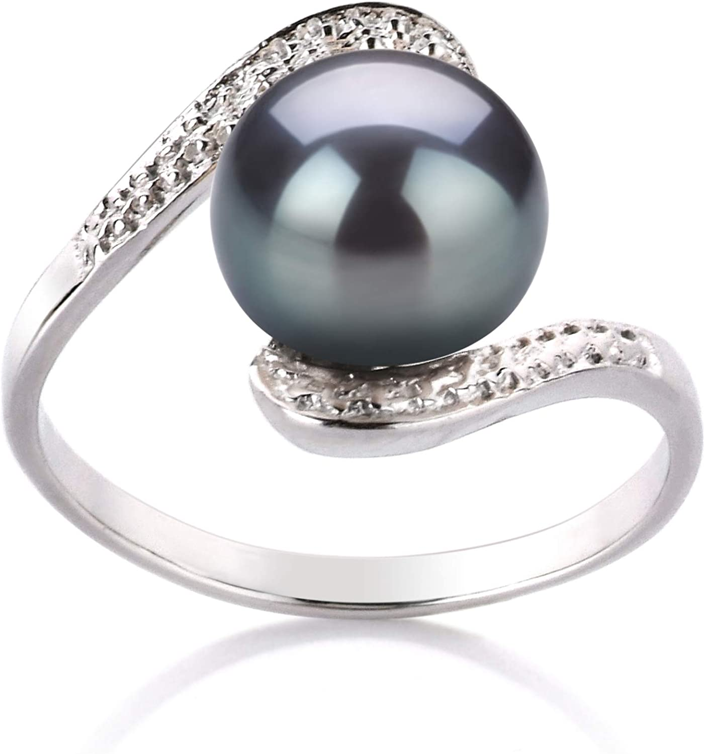 Sterling Silver Gold Plated Fresh Water Pearl /& Simulated Diamond Cluster Ring