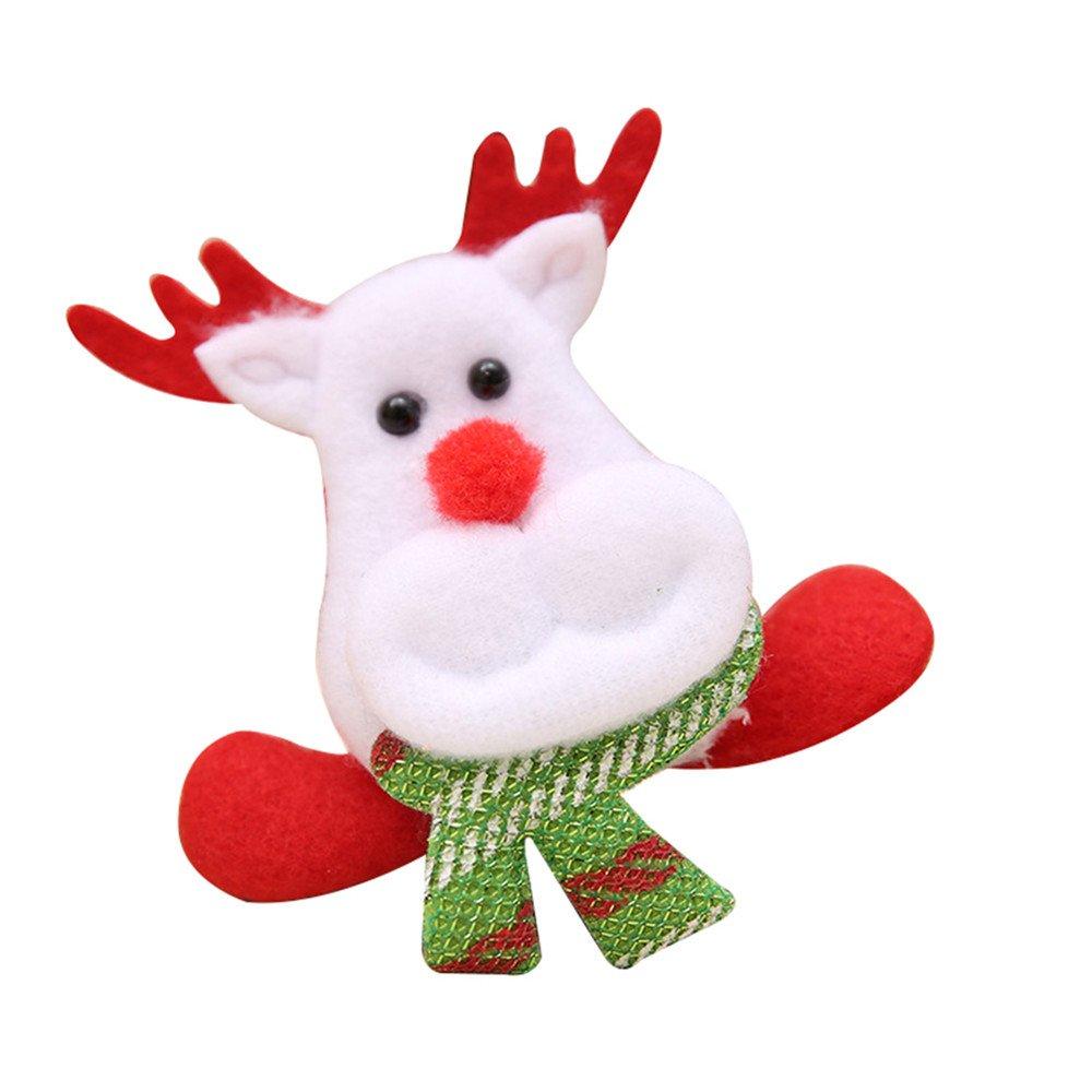 Potato001 Christmas Gift LED Santa Snowman Deer Bear Glow Flashing Cartoon Brooch Badge Toy (Elk)