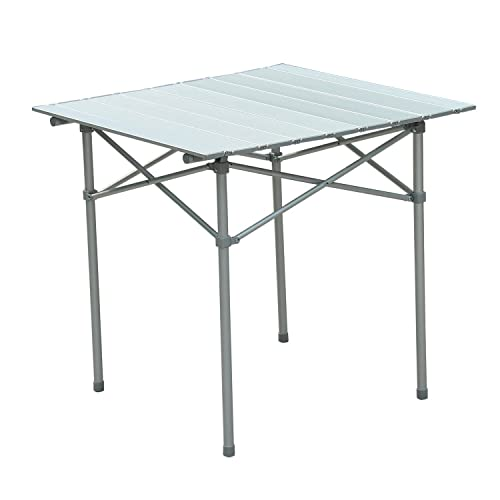 Outsunny Roll Up Top Aluminum Camp Portable Camping Picnic Table w Carrying Bag – 28 x 28 – Silver