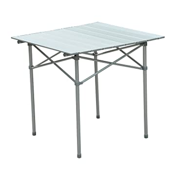 Outsunny Roll Up Top Aluminum Camp Portable Camping Picnic Table W/  Carrying Bag   28u0026quot