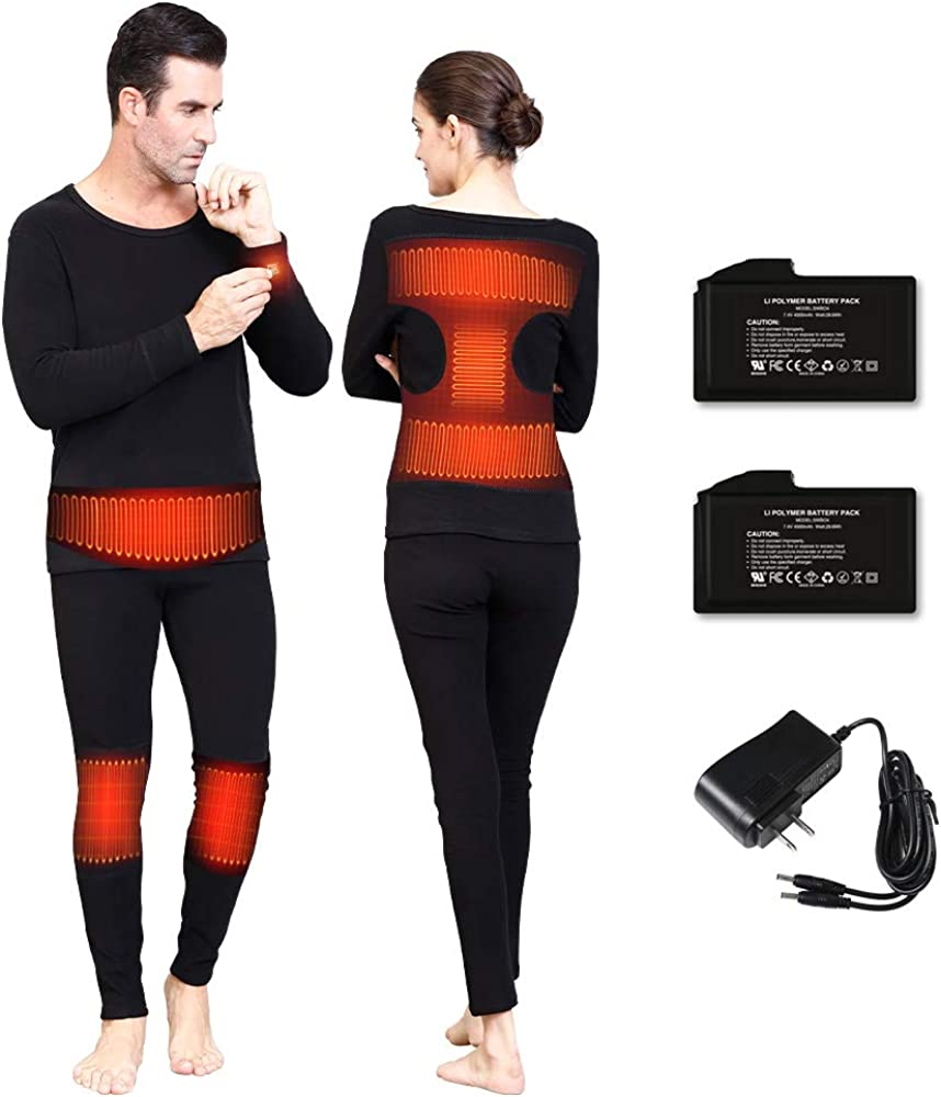 Thermal Underwear for Men Women Heated Clothes Winter Long Johns with 3000/4000mAh Rechargeable Battery