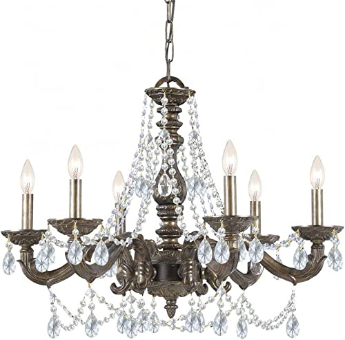 Crystorama 5026-VB-CL-MWP Traditional Six Light Chandelier from Paris Market collection in Bronze Darkfinish,