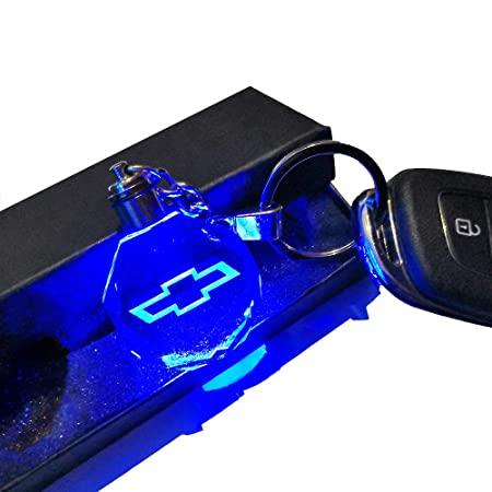 VILLSION Car Emblem Chevrolet Keychain Gift Key Chain Accessories, 7 Color Changing LED Crystal Light