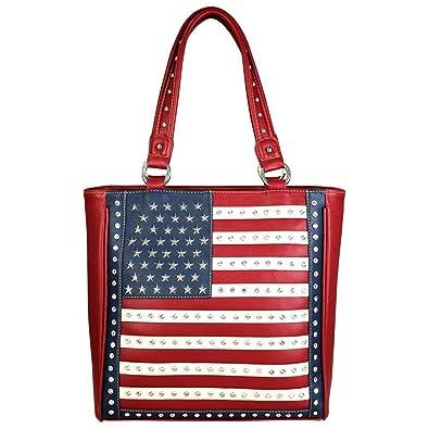 31914025d19 Amazon.com  Montana West Tote Handbag American Pride Patriotic Flag USA  Concealed Carry Purse RED WHITE BLUE  Shoes