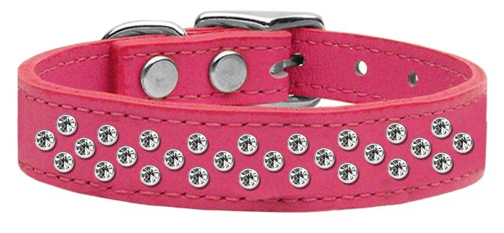 16\ Mirage Pet Products Sprinkles Clear Crystal Leather Pink Dog Collar, 16