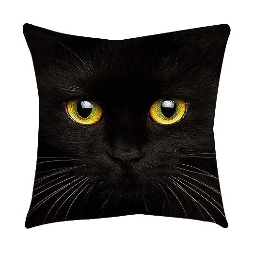 Loolik Fundas de Cojines,Patrón de Ojo de Gato Negro Poliéster Throw Pillow Case Funda de Almohada para Cojín 45x45 CM (A)