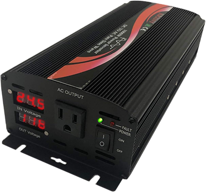 KRXNY 1000W Off Grid Pure Sine Wave Power Inverter 24V DC to 110V 120V AC 60HZ with LED Display US Socket