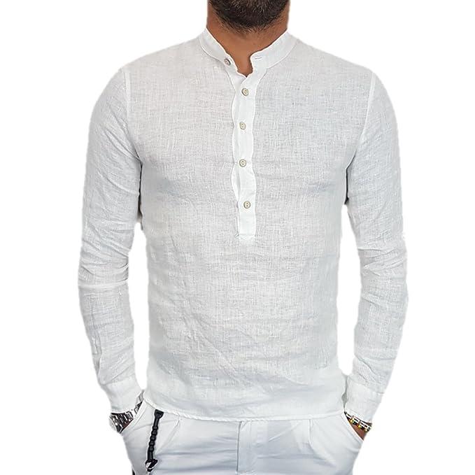 0e3af9a13 qiansu Camisa Botón Lino Los Hombres Manga Larga Camisa De Color Sólido  Cuatro Colores Camisa Transpirable con Cuello Alto Camiseta Suelta Casual  Verano: ...