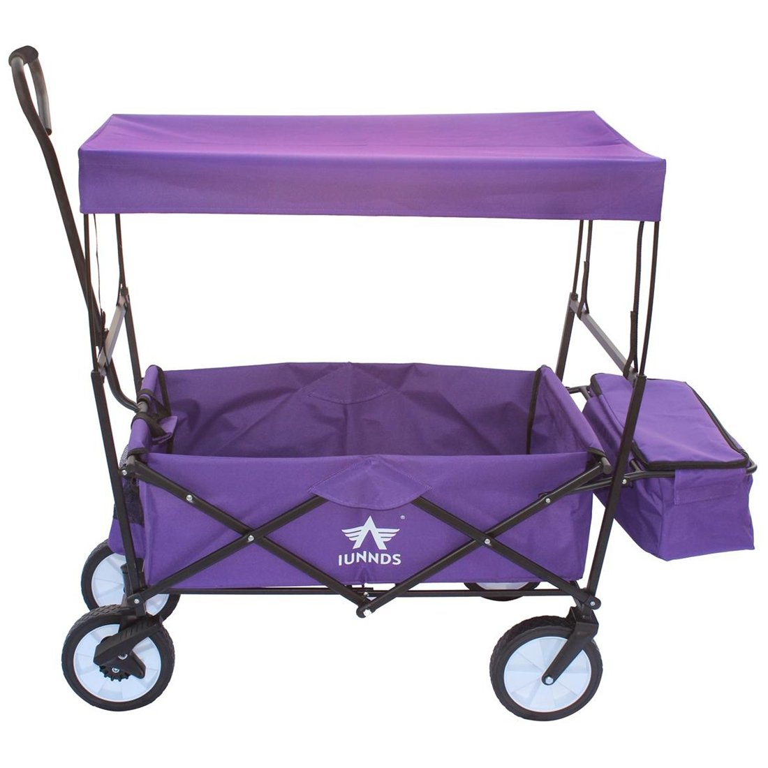 Sports God Folding Wagon Collapsible Utility Graden Cart with Removable Canopy + Storage Basket + FREE Cooler (Purple)